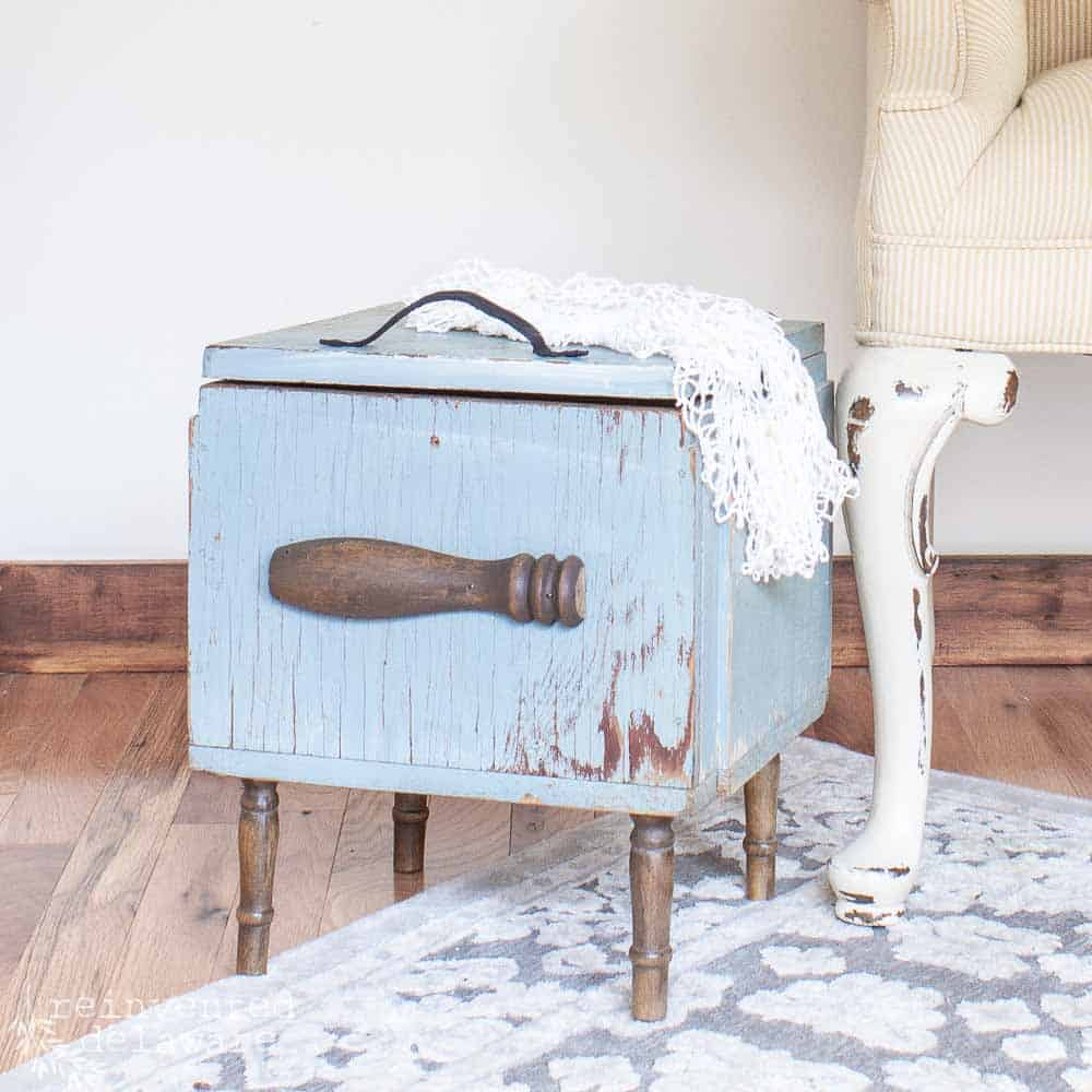 vintage tool box upcycled with spindle legs