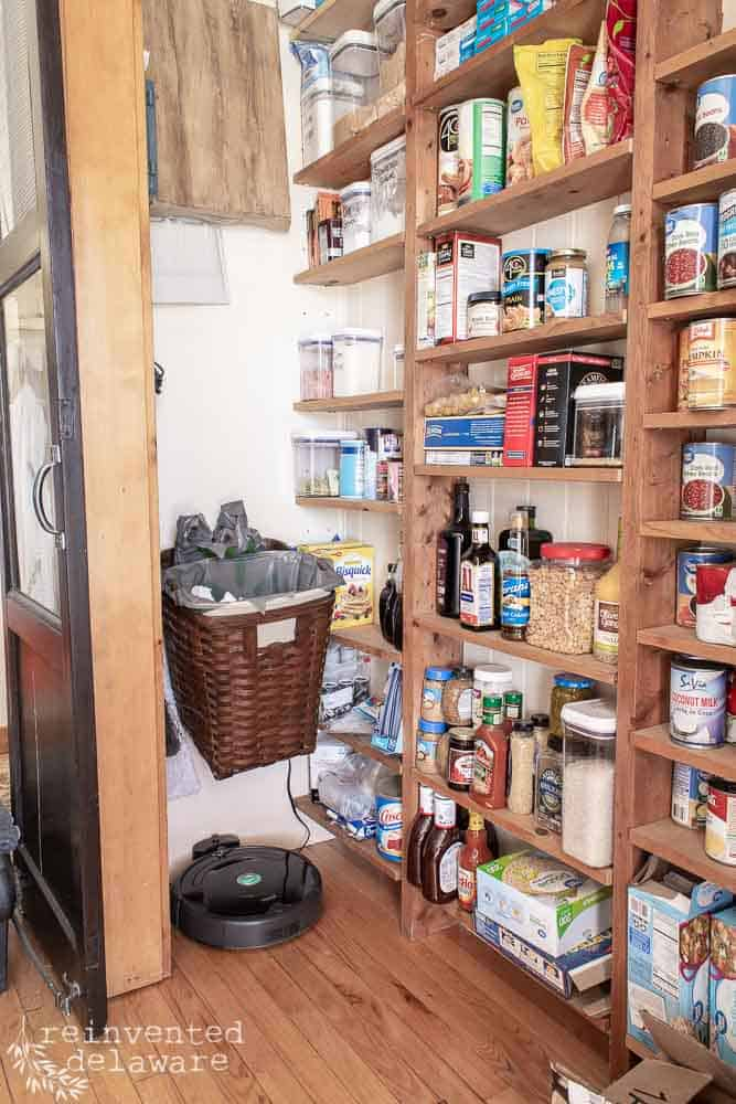 messy pantry items in laundry room