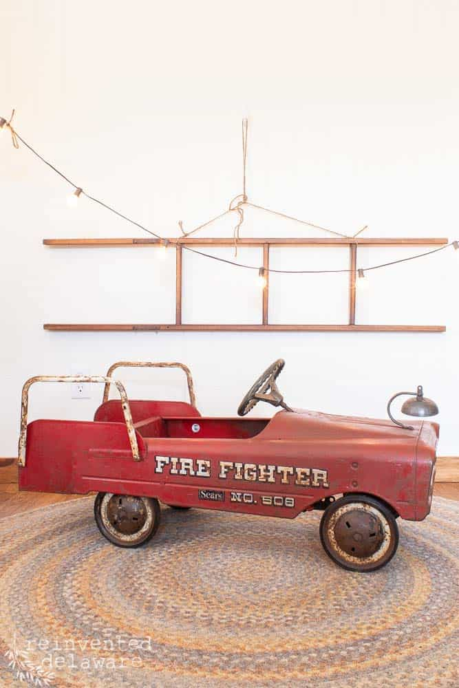 antique toy metal fire truck that has been cleaned of rust