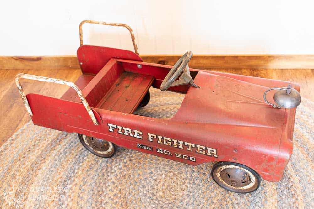 above view of restored antique toy metal firetruck