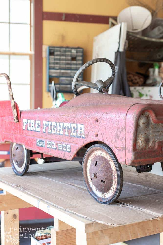 front view of toy fire truck showing rust