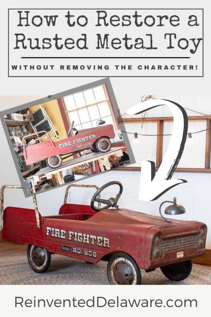 graphic showing before and after of restored toy firetruck