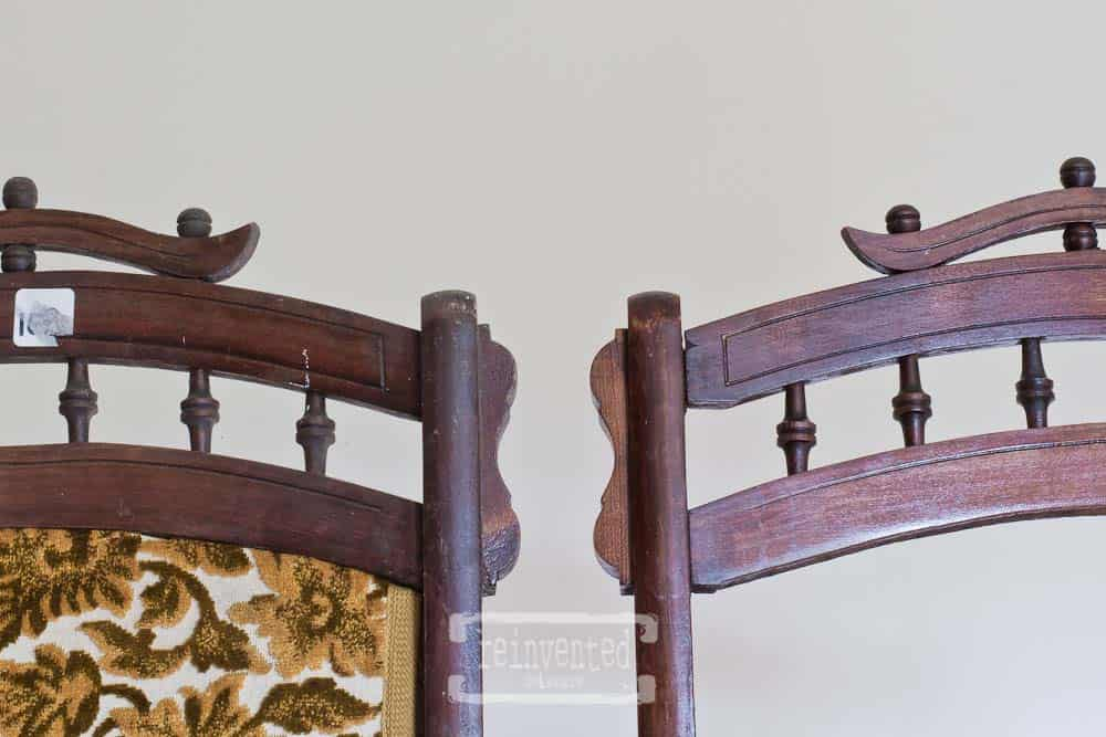 close up of back of antique Eastlake folding rocking chairs