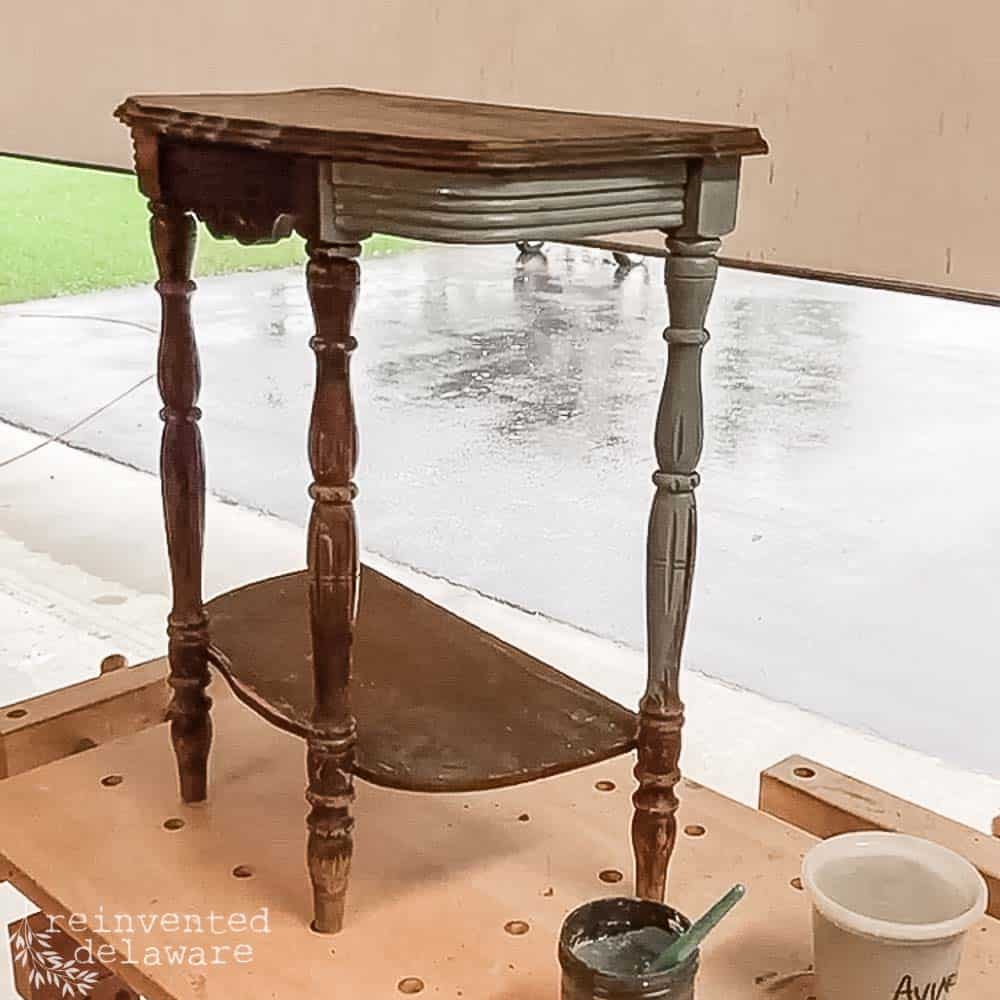 before the makeover of a Demilune Table