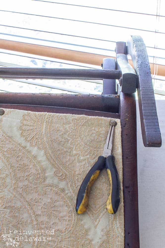 rocking chair upholstery with pliers and decorative nail head