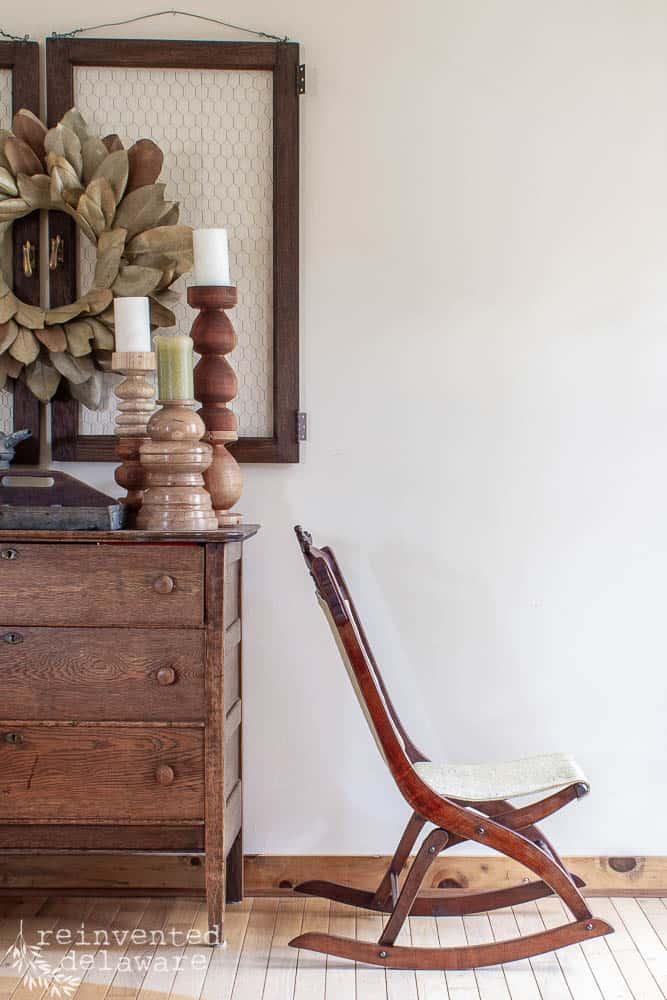 profile view of rocking chair upholstery on Eastlake folding rocker