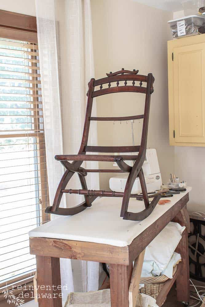 antique eastlake rocking chair with all upholstery fabric removed