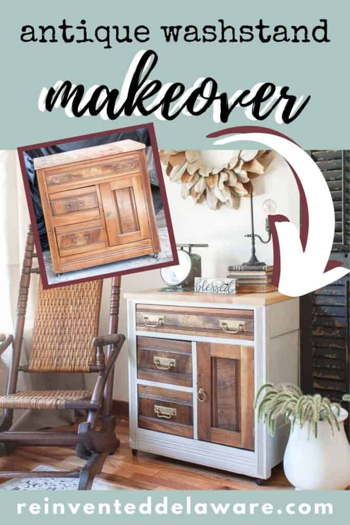 Pinterest graphic showing before and after of easy antique washstand makeover