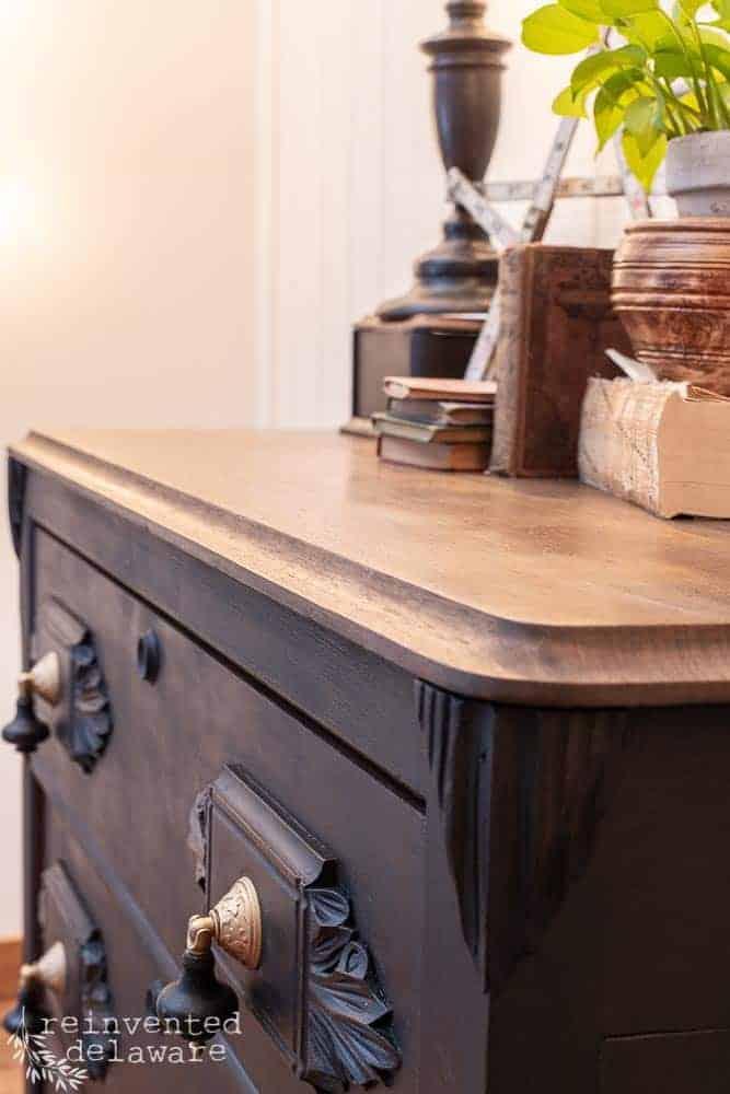 side view of top of restored antique gentlemen's dresser