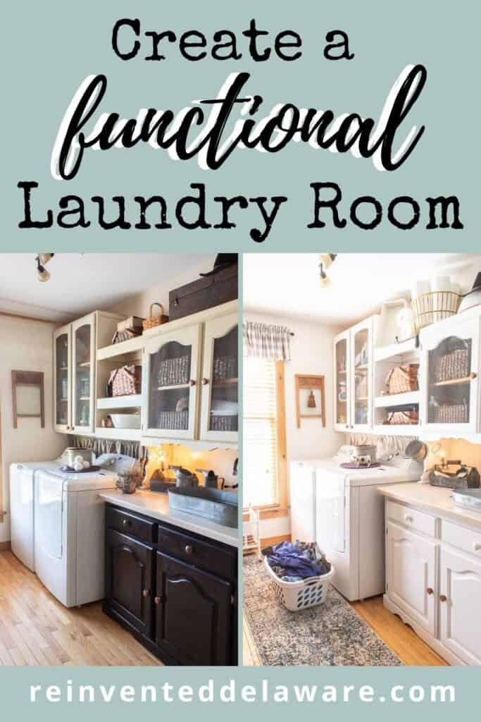 Pinterest graphic for laundry room makeover showing before and after
