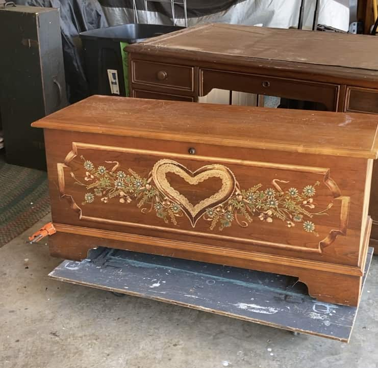 before image of Lane blanket and hope chest with heart decal on front