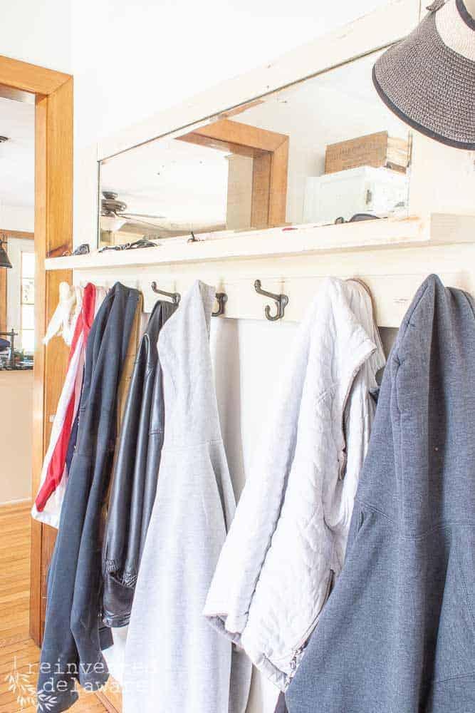 vintage coat hooks with mirror rack