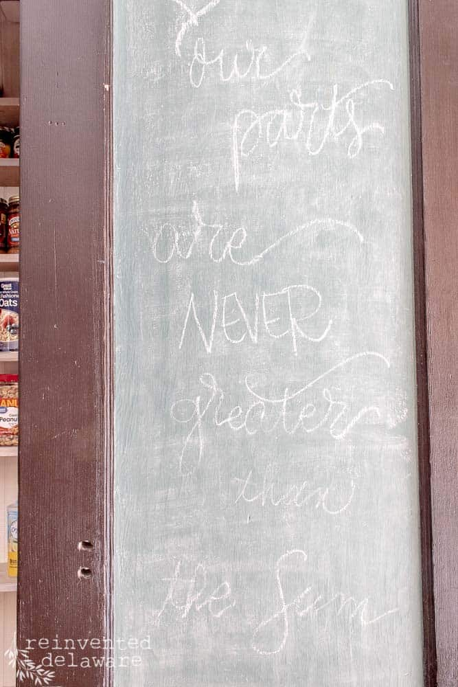 chalkboard idea in a functional laundry room