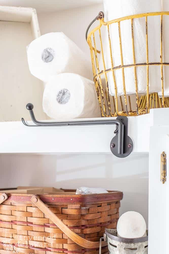 close up shot of laundry hanging hook in a functional laundry room