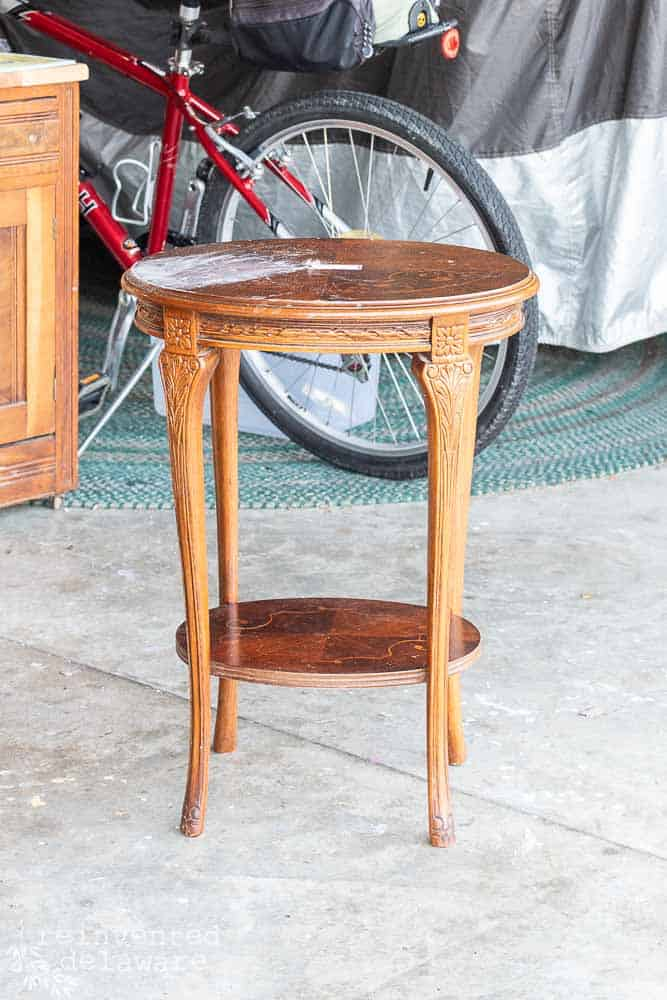 vintage wood inlay side table before restoration of furniture