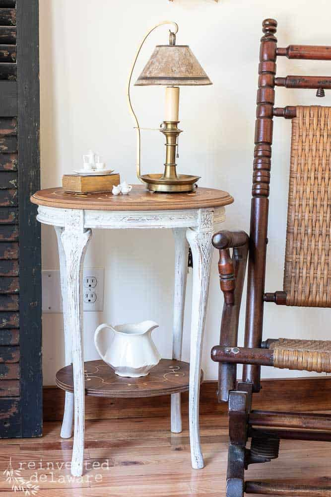 vintage wood inlay side table after restoration of furniture makeover staged with rocker and lamp