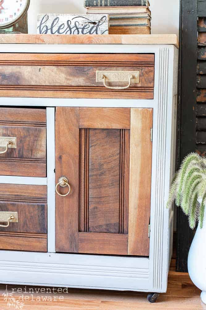 door detail on antique washstand that has been madeover