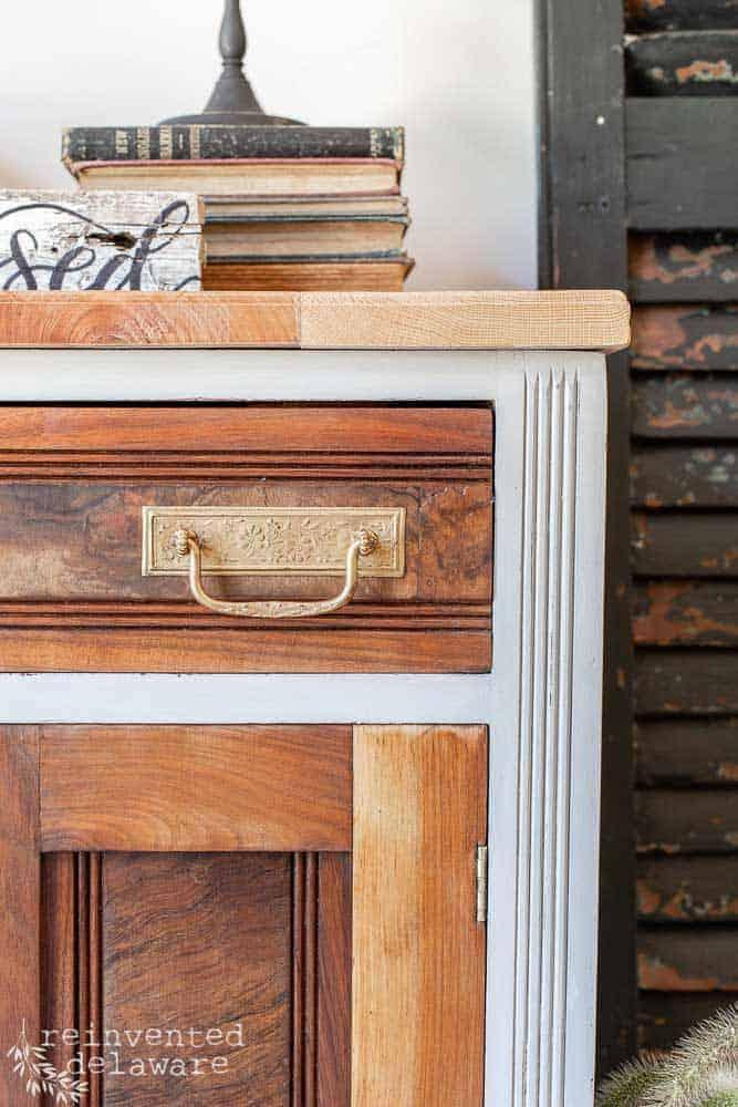 detail shot of antique washstand makeover