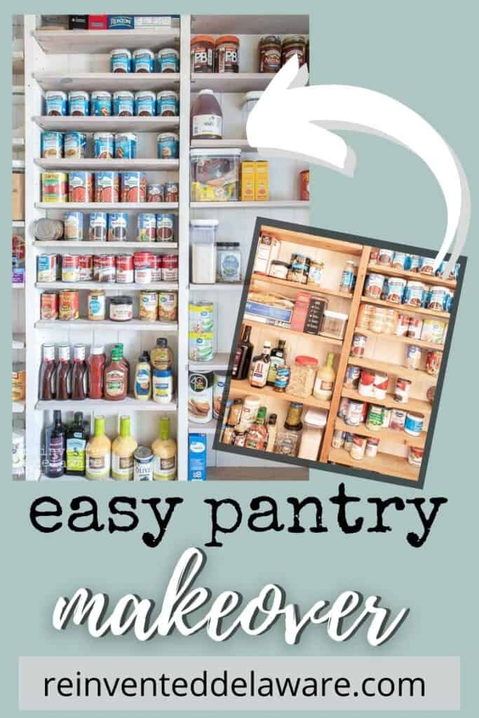 Pinterest graphic showing before and after of easy pantry makeover