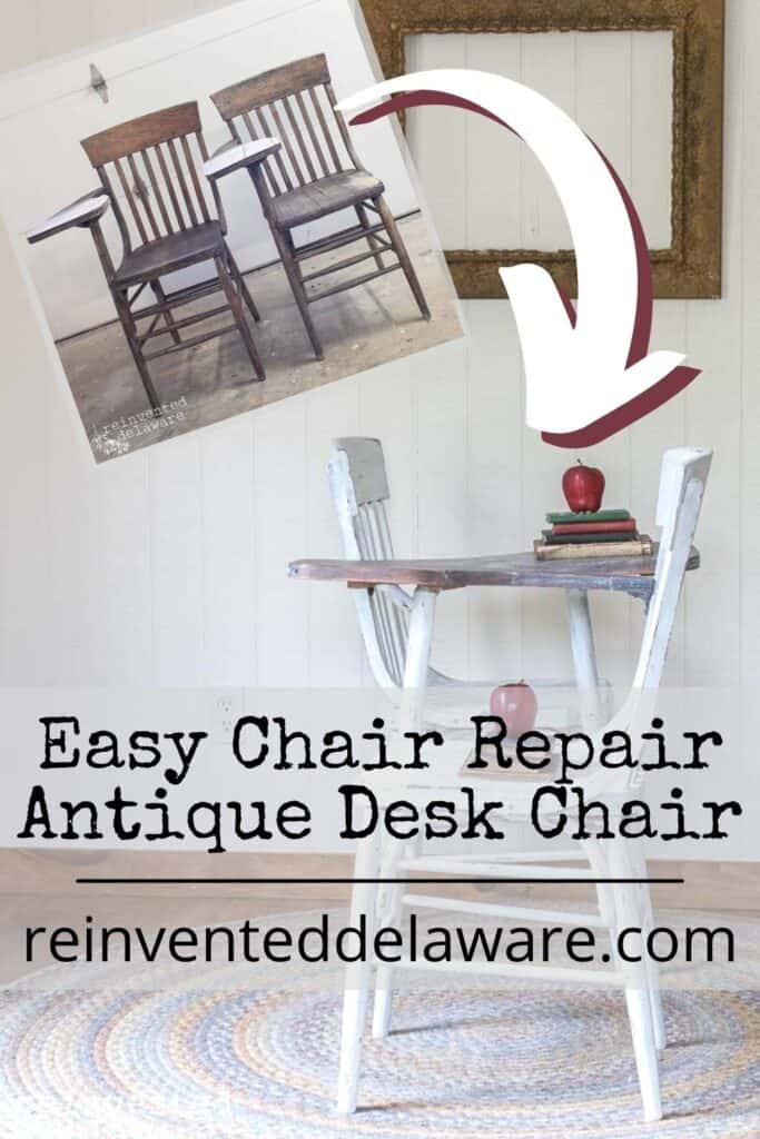 Pinterest graphic showing before and after of easy chair seat repair on antique desk chair