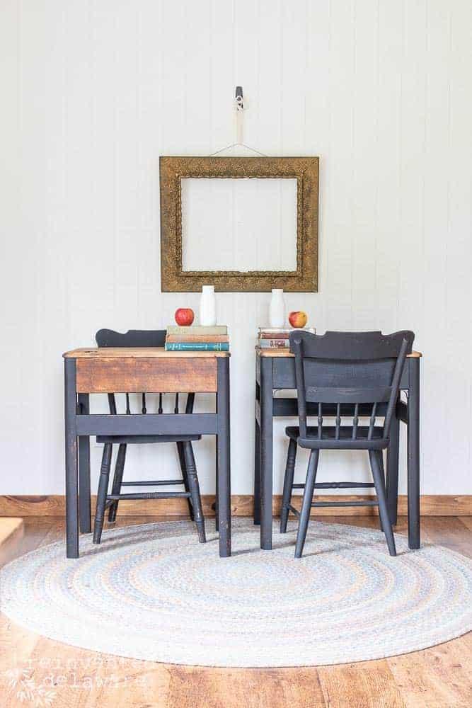 staged shot of pair of Heywood Wakefield desk after refurbish