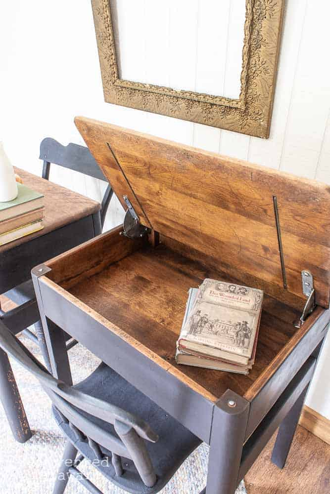 view of inside of antique school desk after being restored