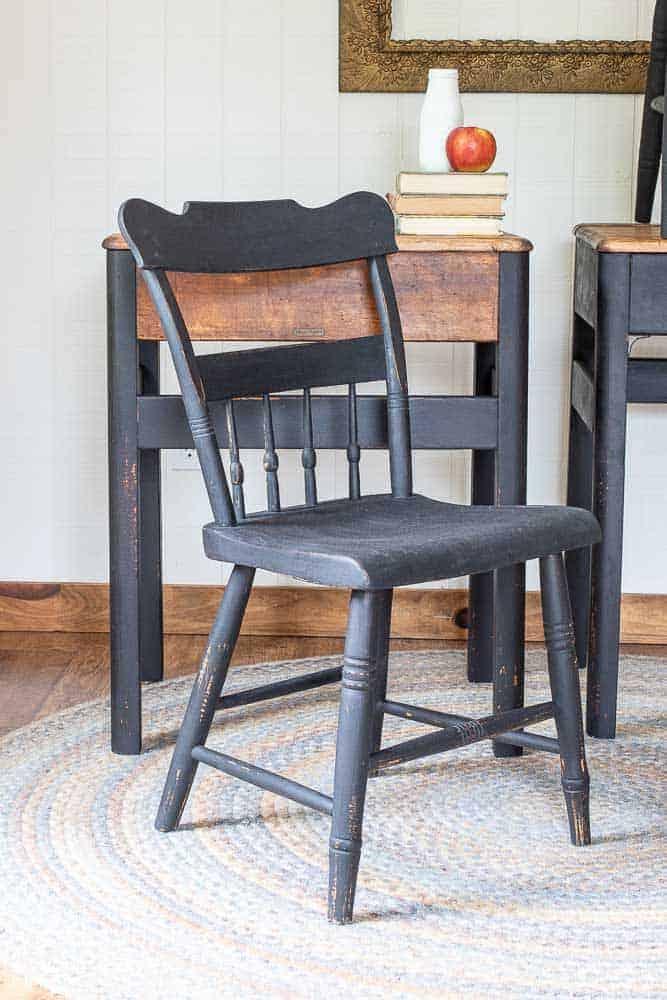 refurbished antitque chair painted in Miss Mustard Seed Milk Paint in Typewriter black