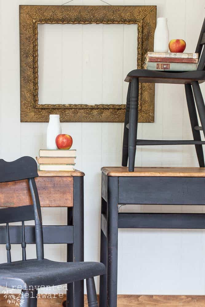 front and back view of refurbished antique school desks with chairs