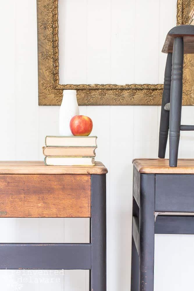 front and back of refurbished school desks