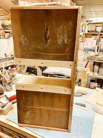 underside of drawer that was reconfigured for a dresser makeover
