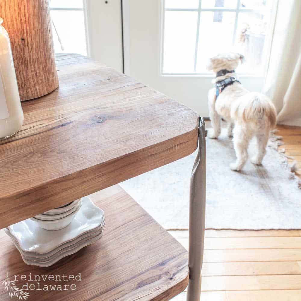 close up of reclaimed lumber shelves on upcycled metal cart with cute dog in the background