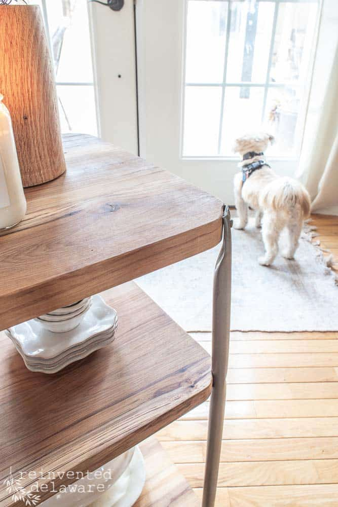 reclaimed lumber on upcycled metal cart with dog in the background