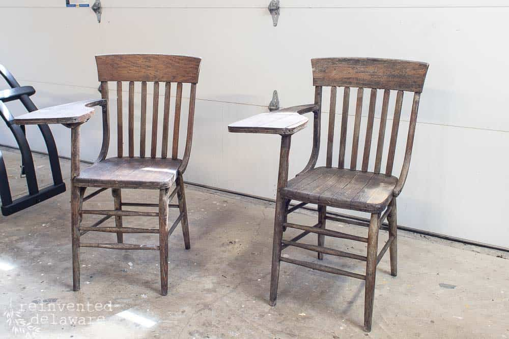 front veiw of damaged and brocken antique school desk chairs before makeover and repairs