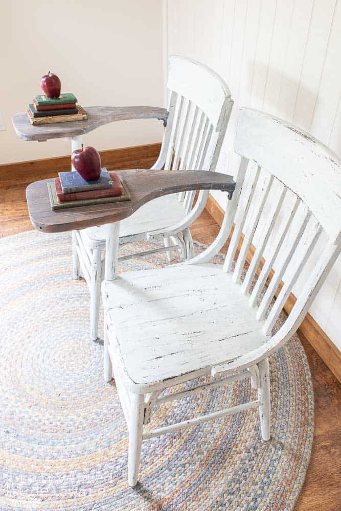 side and top view of matching desk chairs that have been repaired and painted in farmhouse white milk paint