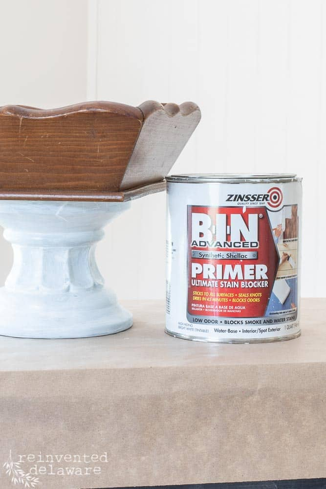 base of upcycled wooden tray makeover primed with Bin Shellac based primer in white