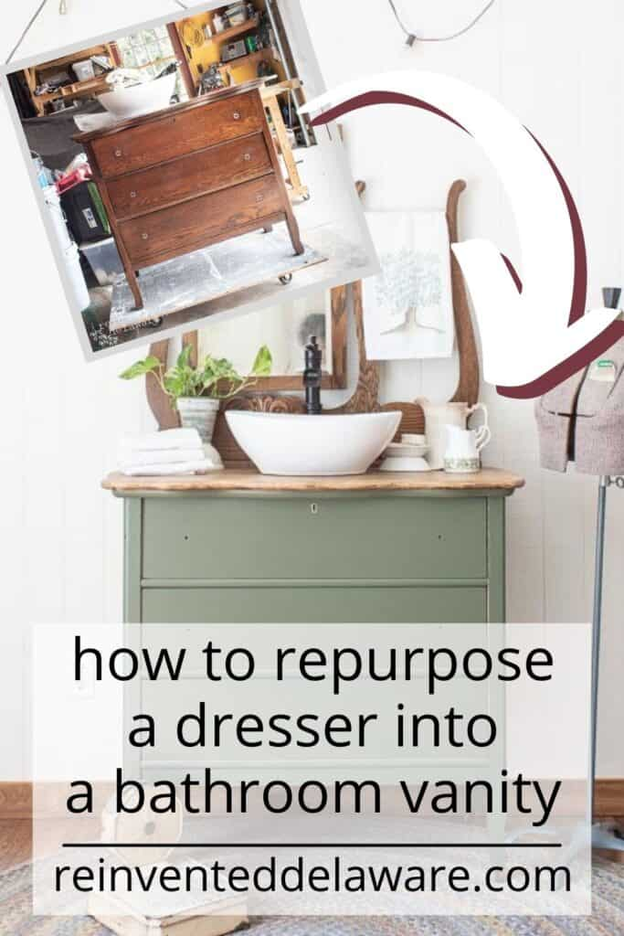 Pinterest graphic showing before and after of dresser converted to bathroom vanity