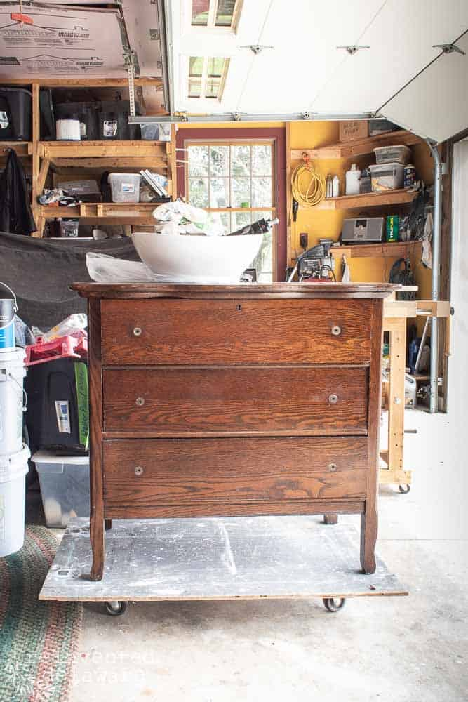 antique dresser before shot showing old orange colored stain finish