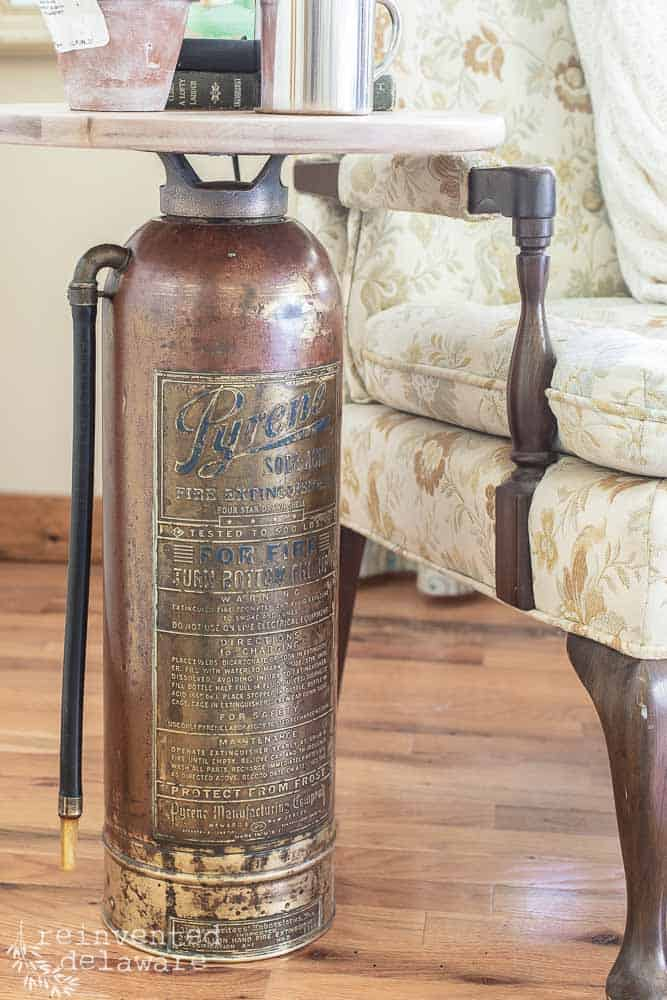 full view of vintage fire extinguisher side table upcycle project