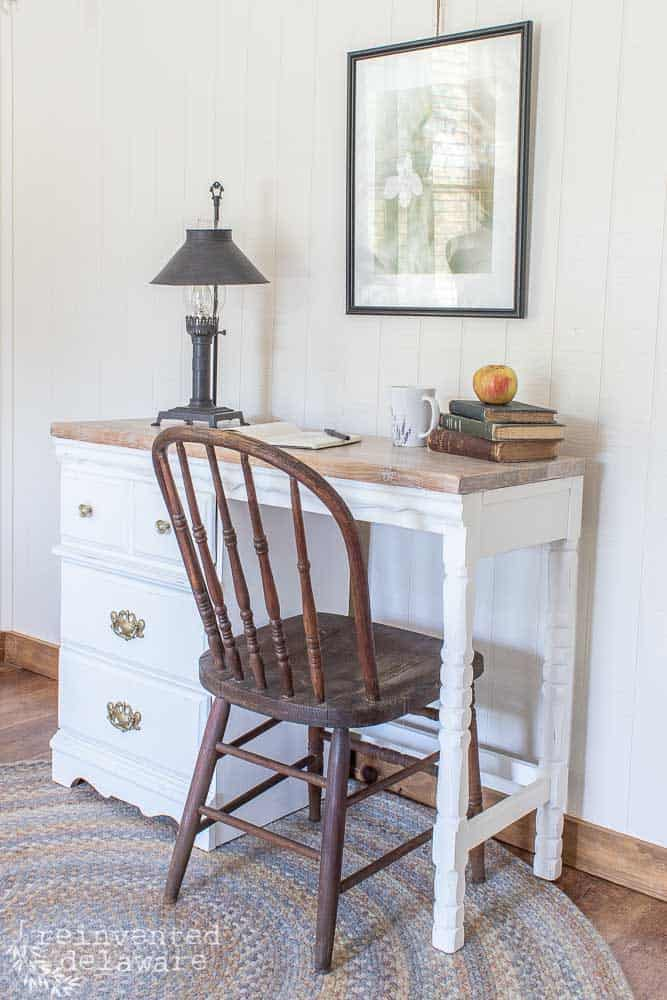 close up and side view of desk makeover ideas showing white Fusion Mineral Paint and staged with various desk items and an antique chair