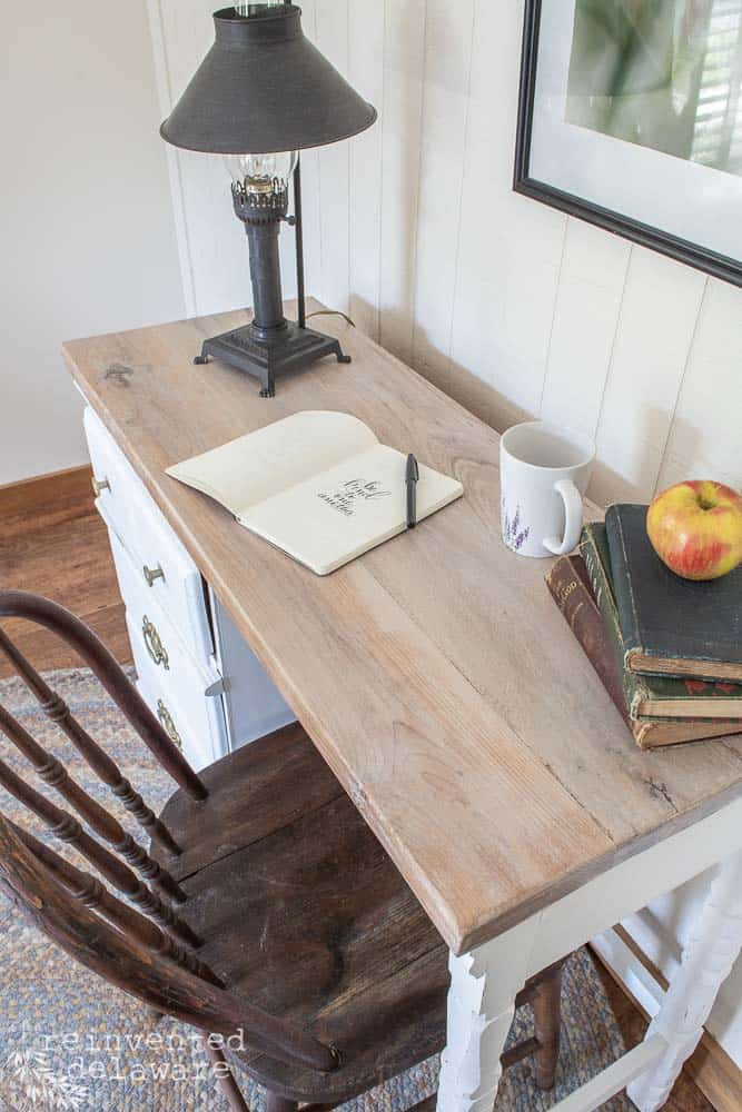 top view of reclaimed wood top on desk for a desk makeover ideas blog postt