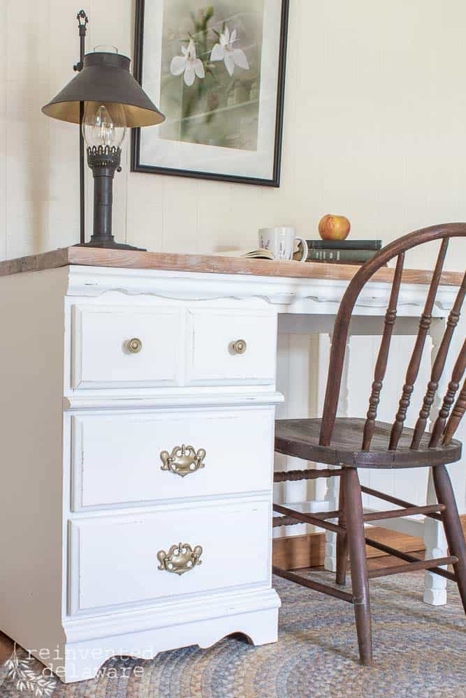 front view of drawers painted in white Fusion Mineral Paint and spray painted hardware in gold