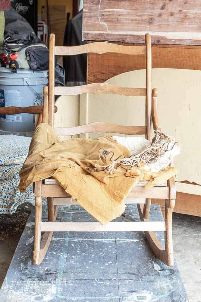 rocking chair with old fabric, springs, batting removed for rocking chair covering ideas blog pot\st