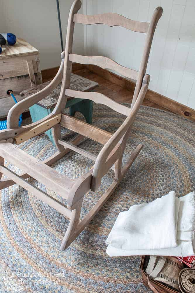 rocking chair wood frame after being sanded, restored with Restore-A-Finish and white wax