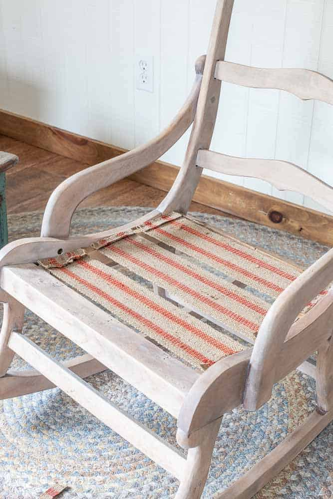 first three rows of upholstery webbing attached on chair