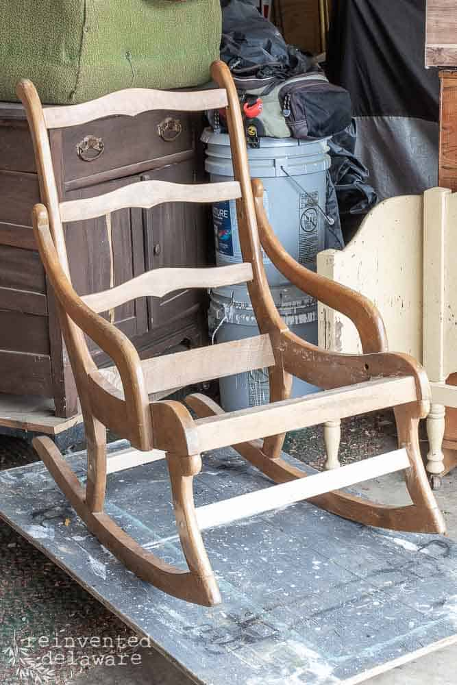 rocking chair with upholstered seat removed