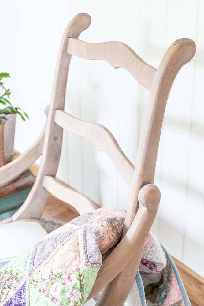 back of rocking chair showing the ladder back design