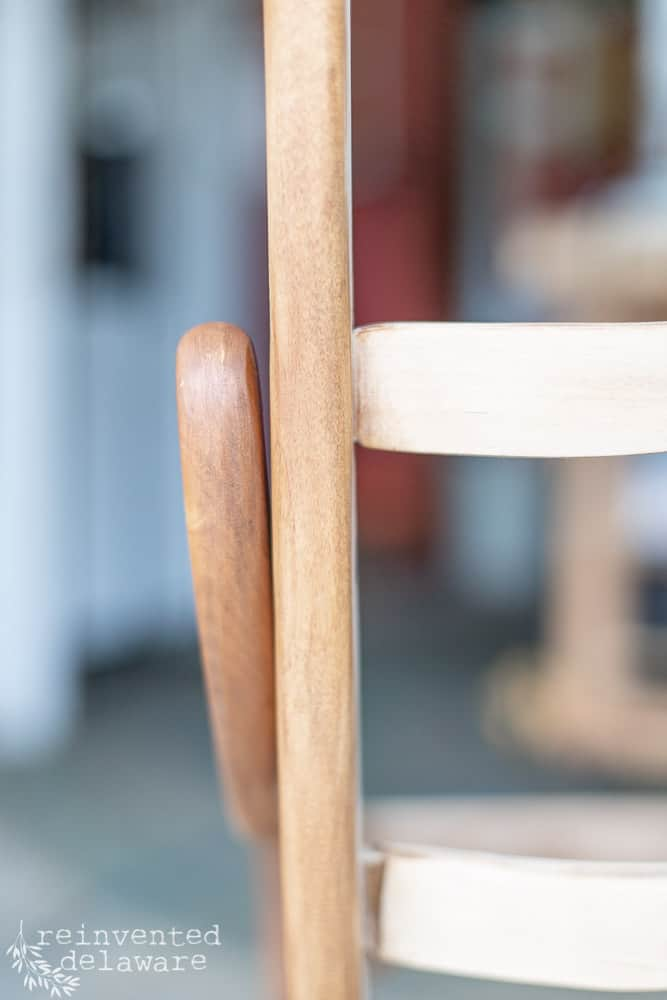 close-up of wood frame on rocking chair after being sanded and then Restore-A-Finish applied