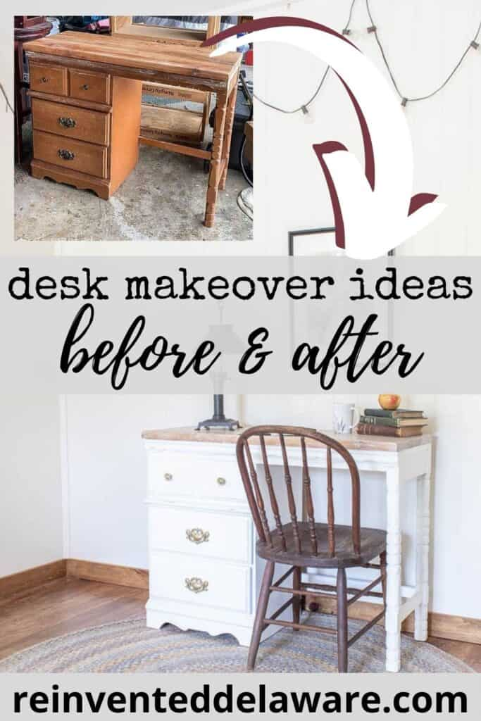Pinterest graphic with before and after of desk makeover