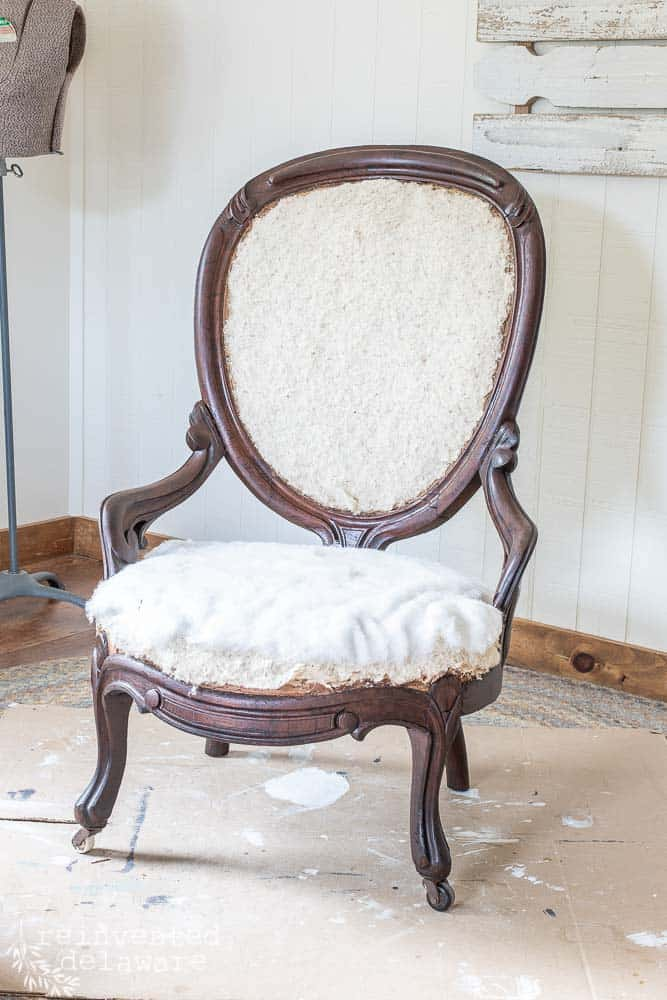 wood frame on antique chair after using Howards Restor-A-Finish