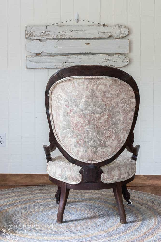 back view of antique victorian chair ready to be reupholstered